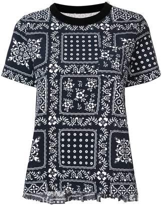 Sacai pleated back printed T-shirt