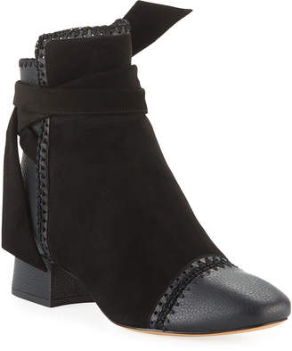 Alexandre Birman Catherine Suede/Leather Low-Heel Booties with Crochet Detail