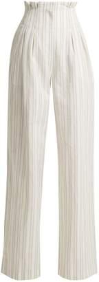 Striped high-rise wide-leg trousers