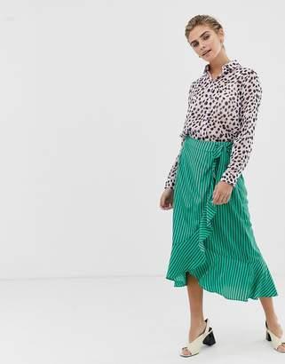 Glamorous wrap midi skirt in satin stripe