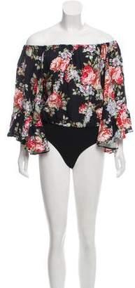 LPA Linen-Blend Floral Print Bodysuit