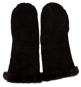 Neiman Marcus Suede Mink Fur Trimmed Mittens Black Suede Mink Fur Trimmed Mittens