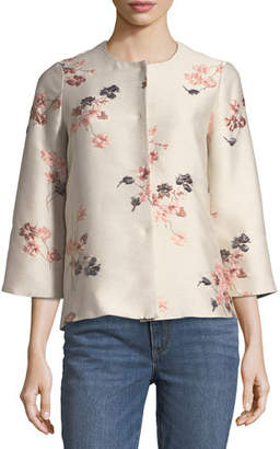 Co Collarless Floral-Jacquard Jacket