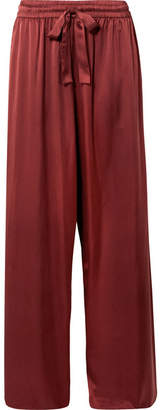 Zimmermann Washed Silk-satin High-rise Wide-leg Pants - Brick