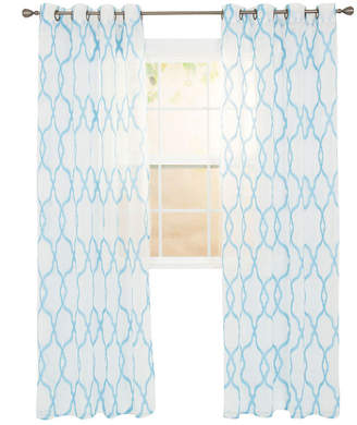 Asstd National Brand Cambridge Home Elisa Embroidered Grommet-Top Sheer Curtain Panel