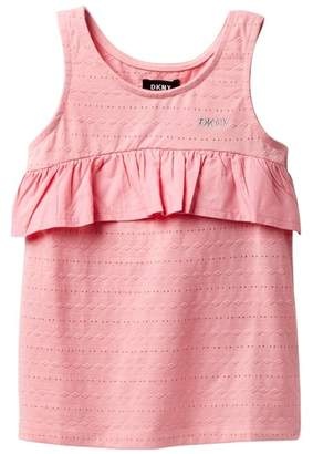 DKNY Eyelet Ruffle Tank Top (Big Girls)