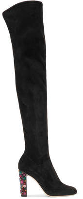 Jimmy Choo Mya 100 Embellished Stretch-suede Over-the-knee Boots - Black