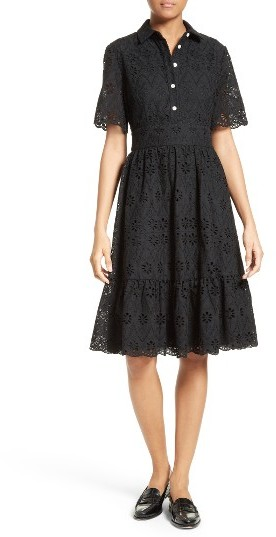 Kate Spade Women's Kate Spade New York Eyelet Embroidered Flounce Shirtdress