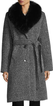 Sofia Cashmere Fox Shawl-Collar Belted Three-Button Wool-Blend Coat