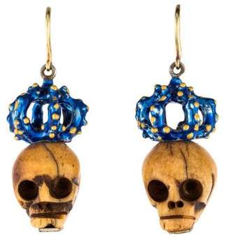 Delfina Delettrez Bone Skull Drop Earrings