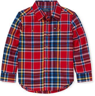 Ralph Lauren Twill Plaid Button-Down Shirt, Size 2-4