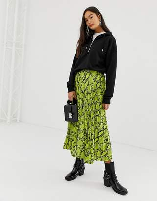 New Look pleated midi skirt in neon snake print