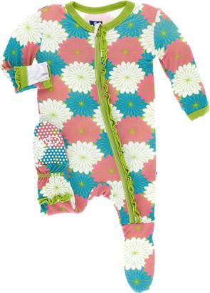 Kickee Pants Baby Girl's Tropical Flowers Ruffle Muffin Footie