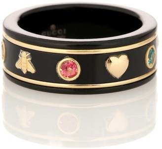 Gucci Icon 18kt gold ring with gemstones