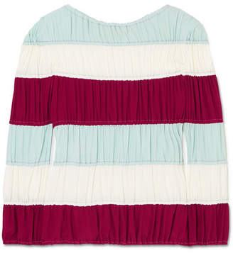 Ruched Striped Crepe De Chine Top - Blue
