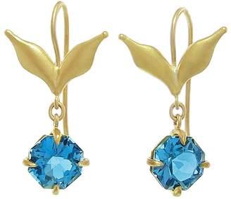 Cathy Waterman London Blue Topaz Wheat Leaf Drop Earrings