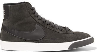 Nike Blazer Mid Vintage Leather-trimmed Suede Sneakers - Charcoal