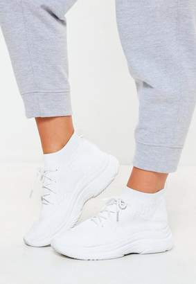 Missguided White Knit Lace Up Sock Sneakers