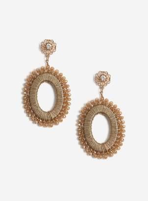 Miss Selfridge Gold Beaded Drop Earrings