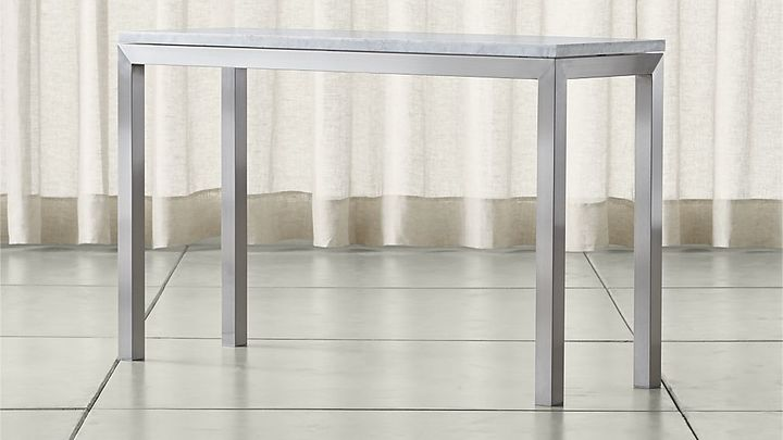 Crate & BarrelParsons Stainless Steel Console Table with White Marble Top