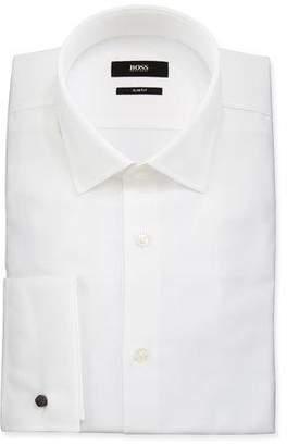 BOSS Men's Slim Fit French-Cuff Textured Dress Shirt