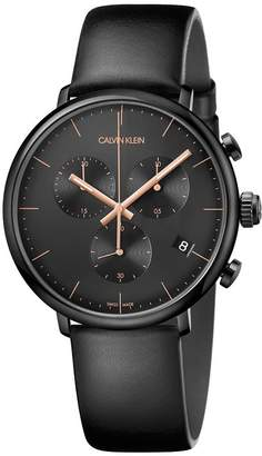 High Noon Men's Black Leather Strap Watch