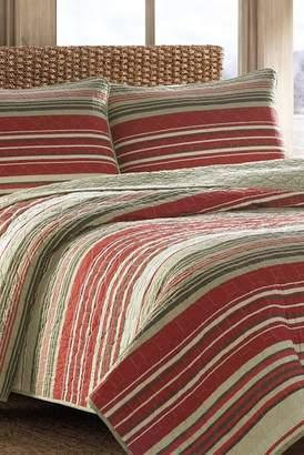Eddie Bauer Yakima Valley Stripe King Quilt Set - Red