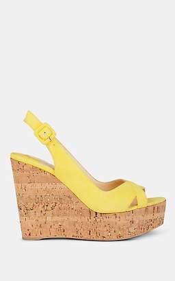 Christian Louboutin Women's Reine De Liege Suede Platform Sandals - Banana, Natural