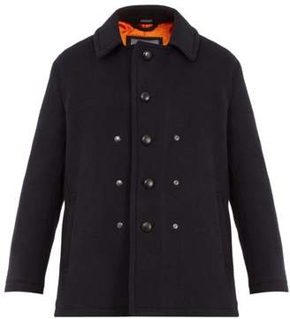 Lanvin Single Breasted Wool And Mohair Blend Pea Coat - Mens - Navy