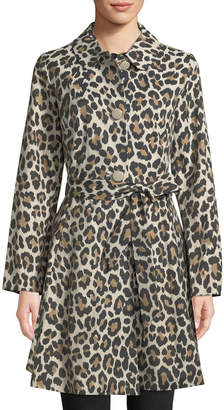 Kate Spade Cheetah-Print Belted Trench Coat