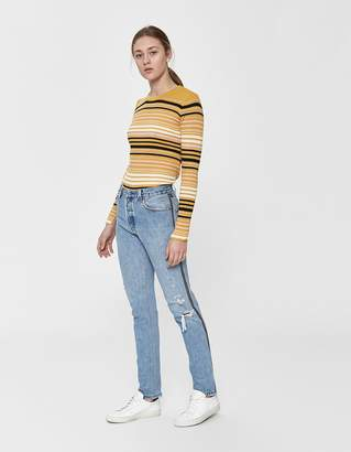RE/DONE Levi's High Rise Ankle Crop Zip Jean in Light Blue