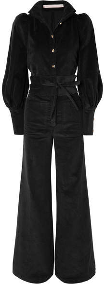 Anna Mason - Jane Belted Cotton-corduroy Jumpsuit - Black