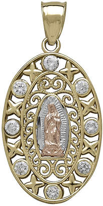 FINE JEWELRY Tesoro Cubic Zirconia 14K Tri-Color Lady of Guadalupe Pendant