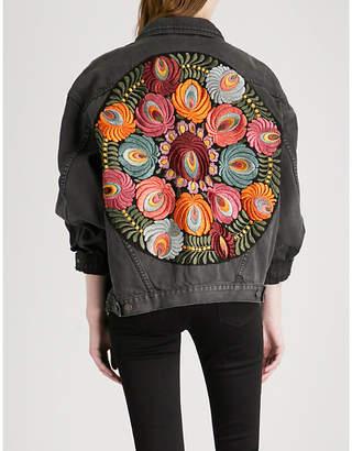 Free People Embroidered denim jacket