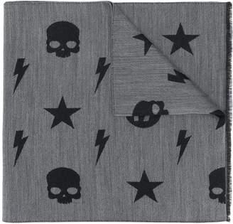 Hydrogen plaid skull and star scarf
