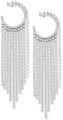"""Swarovski Silver-Tone 3-2/3"""" Crystal Hoop & Fringe Chandelier Earrings"""