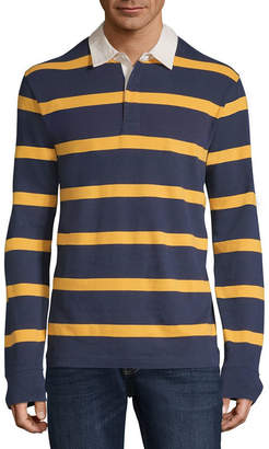 ST. JOHN'S BAY Long Sleeve Stripe Jersey Polo Shirt