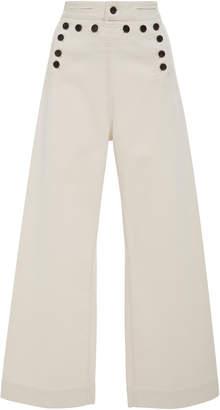 A.L.C. Pierce Buttoned Cotton-Blend Wide-Leg Pants