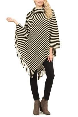 Riah Fashion Stripe Tassel Poncho