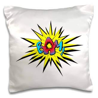 3dRose Super hero fight expression bam fist fistfight superhero explosion shot, Pillow Case, 16 by 16-inch