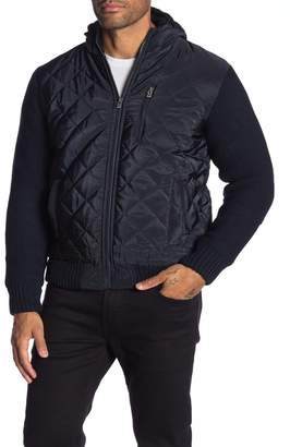 X-Ray XRAY Faux Shearling Lined Quilted Zip-Up Hoodie