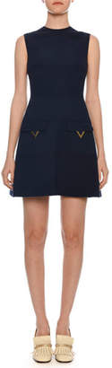 Valentino Sleeveless A-Line Crepe Wool Mini Dress w/ Hardware Pockets
