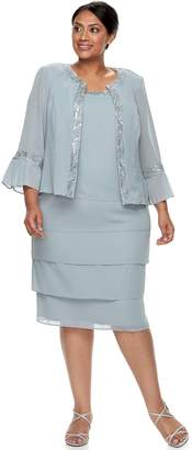 Le Bos Plus Size Tiered Dress & Jacket Set