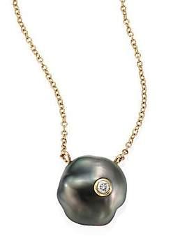 Mizuki Diamond, 10MM Grey Baroque Tahitian Pearl& 14K Yellow Gold Pendant Necklace
