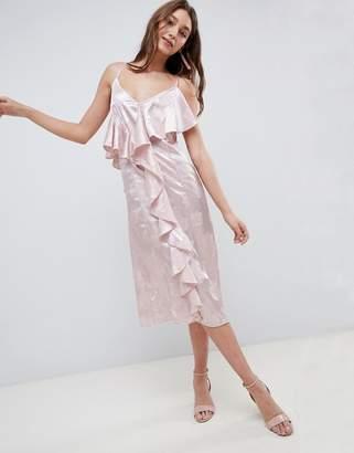 Asos DESIGN Midi Ruffle Dress In Soft Jacquard
