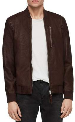 AllSaints Kino Leather Regular Fit Bomber Jacket