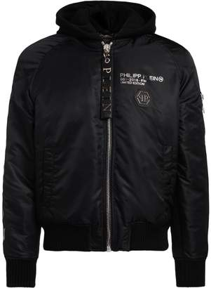 Philipp Plein Skull Black Nylon Bomber With Laminated Print