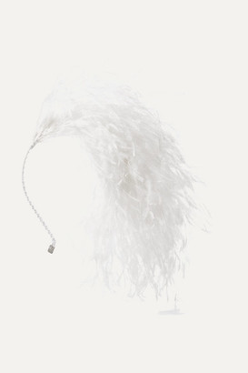 Gigi Burris Millinery Adrianne Feather Headband - White