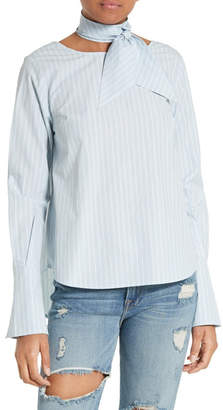 Frame Stripe Cotton Tie Neck Blouse (Nordstrom Exclusive)