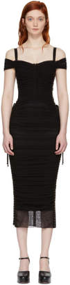 Dolce & Gabbana Black Tulle Ruched Bustier Dress